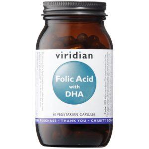 Viridian kwas foliowy z DHA 90 kaps.