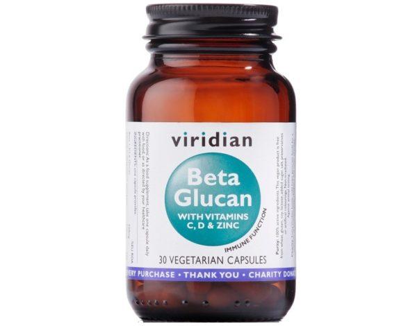 Viridian Beta Glukan z witaminami C, D oraz cynkiem 30 kapsułek