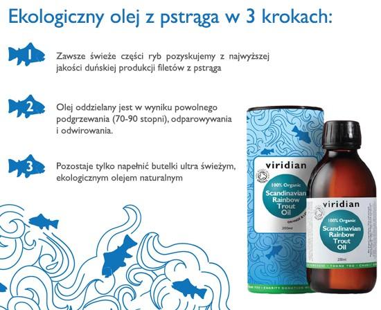 Ekologiczny olej z pstrąga tęczowego Viridian 200 ml trzy kroki