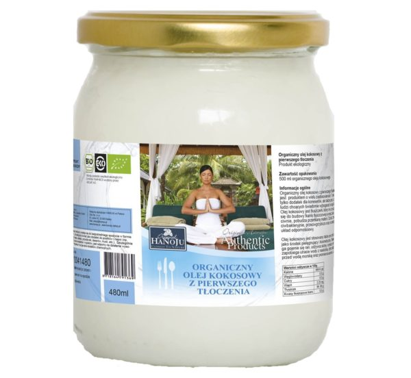 Ekologiczny olej kokosowy z pierwszego tłoczenia Hanoju 500 ml