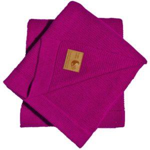 HyggeColour Knitty Raspberryy | Kocyk dziecięcy bawełniano-bambusowy