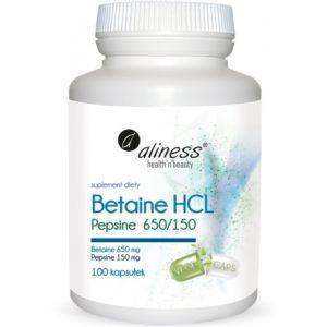 Aliness Betaine HCL 650 mg pepsine 150 mg 100 kapsułek | Betaina i pepsyna