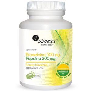Aliness Bromelaina i Papaina 100 kapsułek | Enzymy trawienne carica papaya