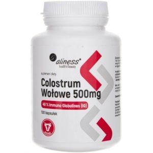 Aliness Colostrum Wołowe IG 40% 500 mg 100 kapsułek