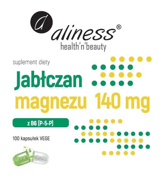 Aliness jabłczan magnezu 140 mg z B6 (P-5-P) 100 wege kapsułek