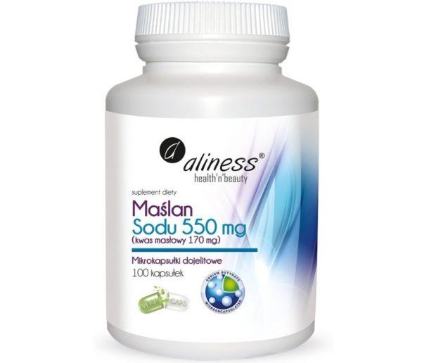 Maślan sodu 550 mg Aliness | Kwas masłowy 170 mg 100 kapsułek