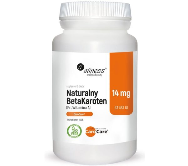 Aliness naturalny BetaKaroten 14 mg 100 wege tabletek   ProWitamina A