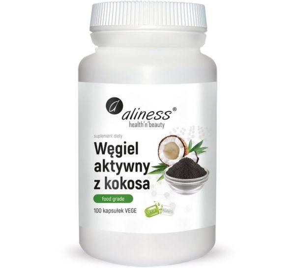 Aliness Węgiel aktywny z kokosa food grade 300 mg 100 kapsułek
