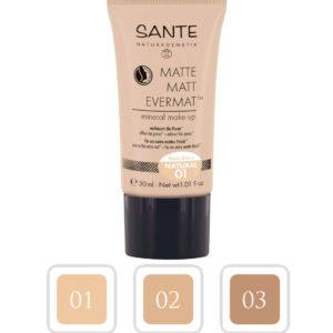 Mineralny podkład matujący do twarzy Matte 01 Natural Sante 30 ml