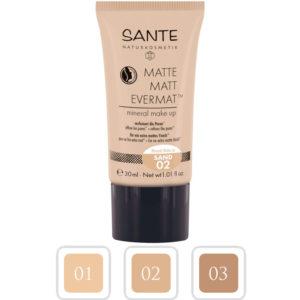 Mineralny podkład matujący do twarzy Matte 02 Sand Sante 30 ml