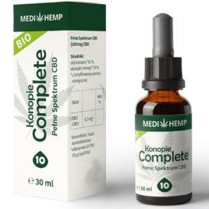 Olej z konopi siewnej CBD 10% z ekstrakcji CO2 MediHemp 30ml BIO