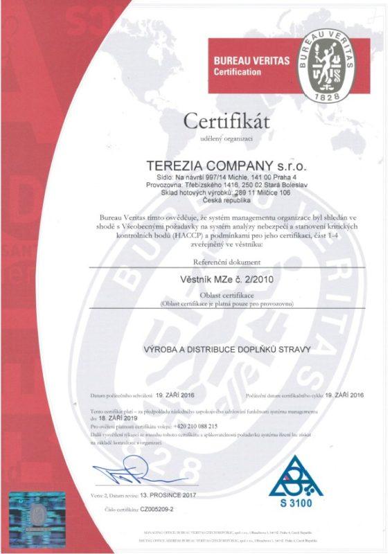 Terezia Company certyfikat HACCP ISO