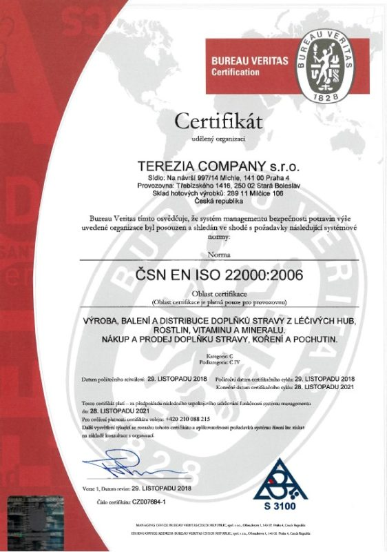 Terezia Company Certyfikat KEZ